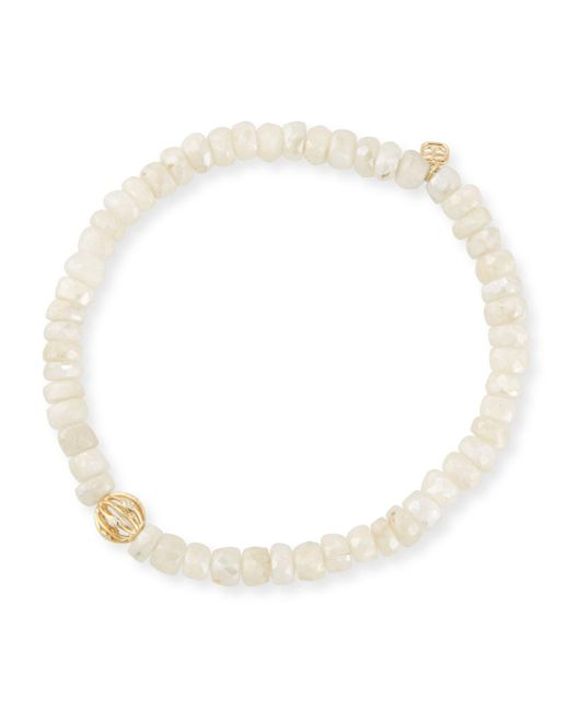 Sydney Evan - 5mm White Sapphire Beaded Bracelet With Diamond Bezel Ball - Lyst