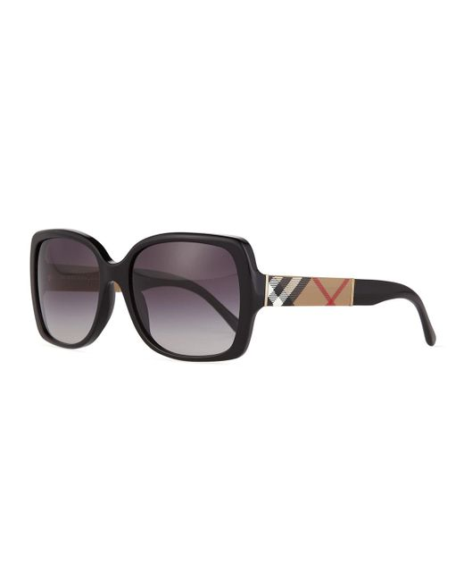 47f68ab30ecb Burberry - Black Gradient Check-temple Square Sunglasses - Lyst ...