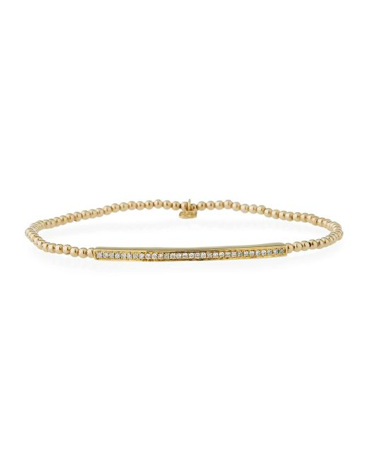 Sydney Evan - Metallic 2mm Beaded Bar Spacer Bracelet With Diamonds - Lyst