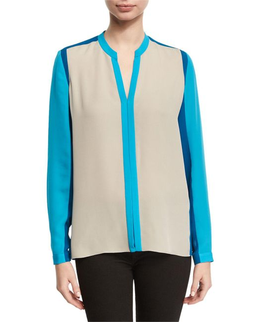 Elie Tahari - Gray Layne Long-sleeve Colorblocked Silk Blouse - Lyst