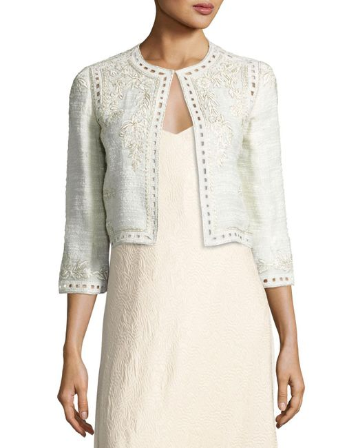 Monique Lhuillier - Gray Embroidered Boucle Cropped Jacket - Lyst