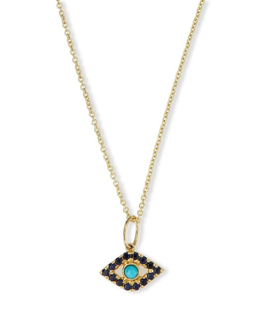 Sydney Evan | Metallic Small Turquoise Cabochon Evil Eye Pendant Necklace W/sapphires | Lyst
