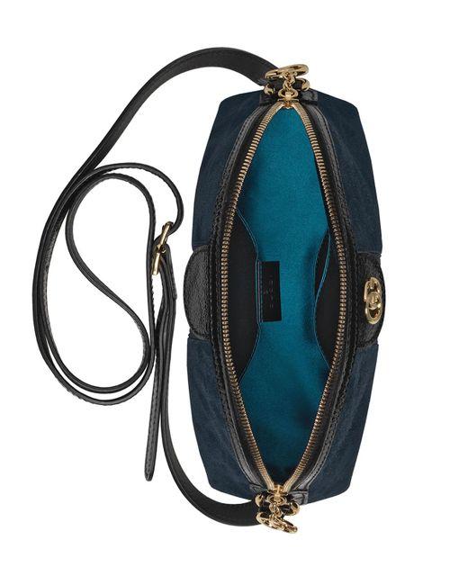 302507c4bca ... Gucci - Black Linea Dragoni Suede Small Chain Shoulder Bag - Lyst ...