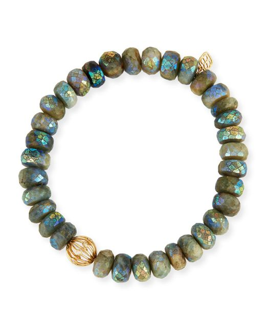 Sydney Evan | Gray Mystic Dark Aqua Beaded Bracelet With Diamond Bezel Ball Charm | Lyst