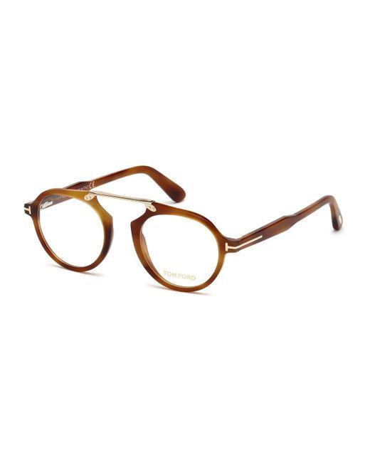 Tom Ford - Brown Round Acetate Optical Bridgeless Glasses - Lyst