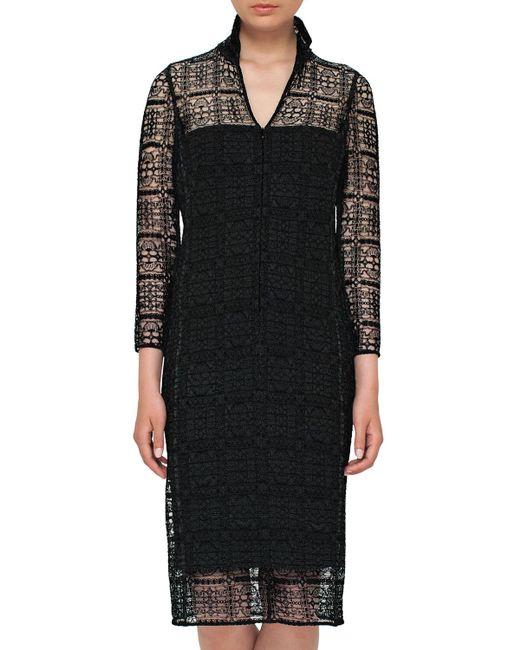 Akris - Black Eve Crocheted Bracelet-sleeve Shirtdress - Lyst