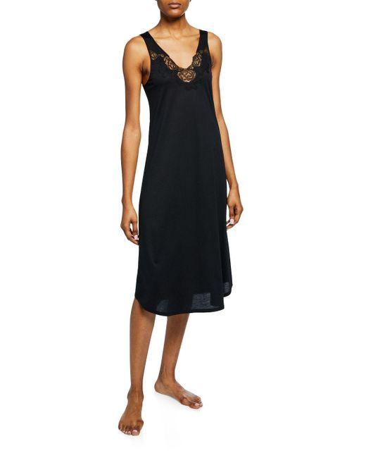 Natori Black Fleur Floral-embroidered Tank Nightgown