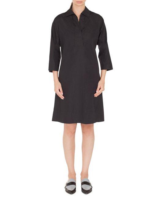 Akris Punto - Black V-neck Bracelet-length Cotton Knee-length Dress - Lyst