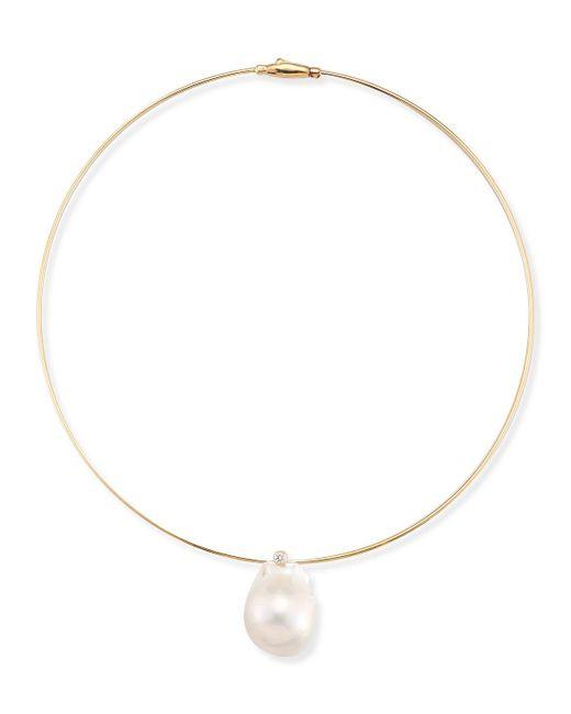 Mizuki | Metallic Medium Single Pearl Collar Necklace | Lyst