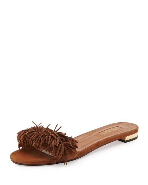 Aquazzura | Brown Wild Thing Suede Flat Slide Sandal | Lyst