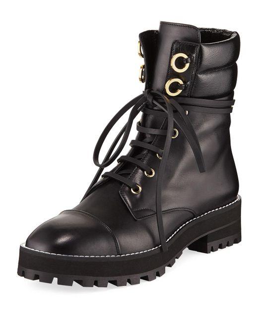 Stuart Weitzman - Black Lexy Leather Combat Boots - Lyst