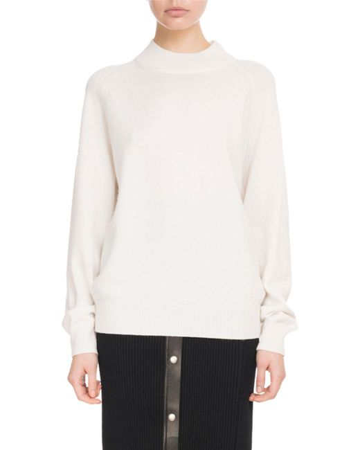 Givenchy - White Mock-neck Long-sleeve Cashmere Sweater W/ Logo Detail - Lyst