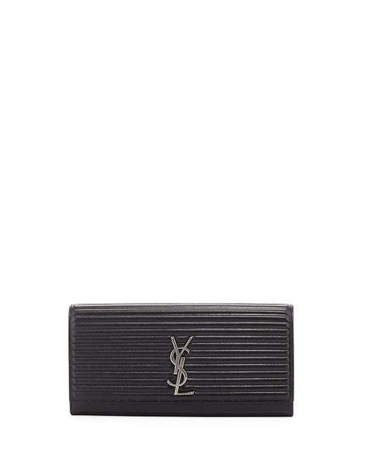 Saint Laurent | Black Kate Monogram Quilted Clutch Bag | Lyst