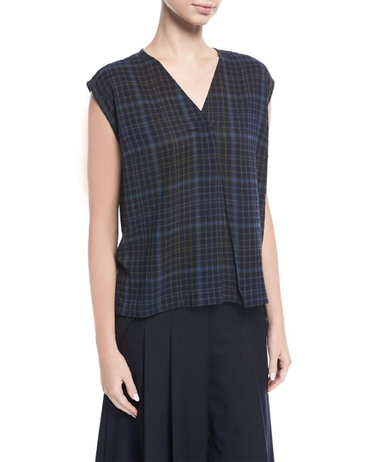 Public School - Blue Ela Plaid Sleeveless V-neck Blouse - Lyst