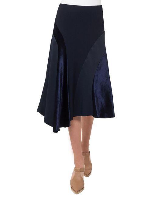 Akris Punto - Blue Asymmetric Velvet Midi Skirt - Lyst