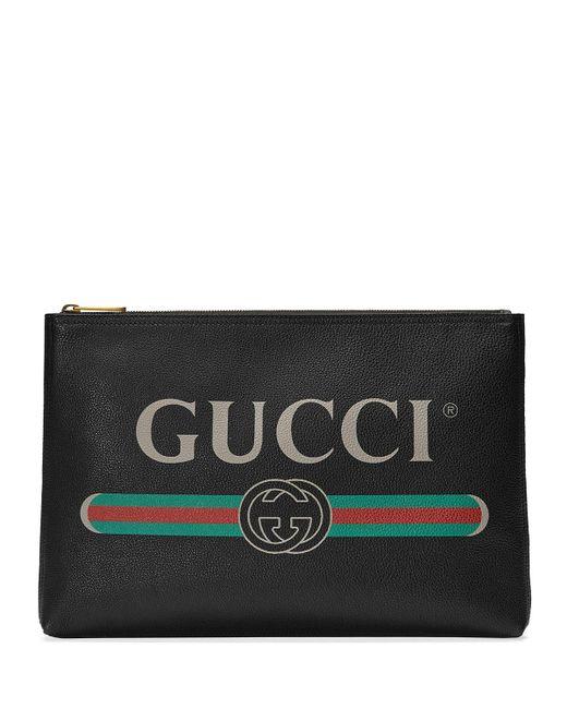 Gucci - Black Men's Large Logo Pouch Bag for Men - Lyst