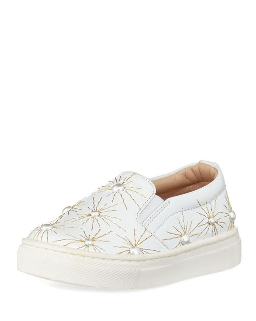 Aquazzura - White Cosmic Pearl Slip-on Sneaker - Lyst