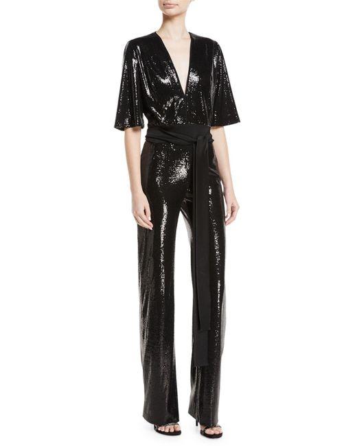 Galvan - Black Sequin Jumpsuit - Lyst