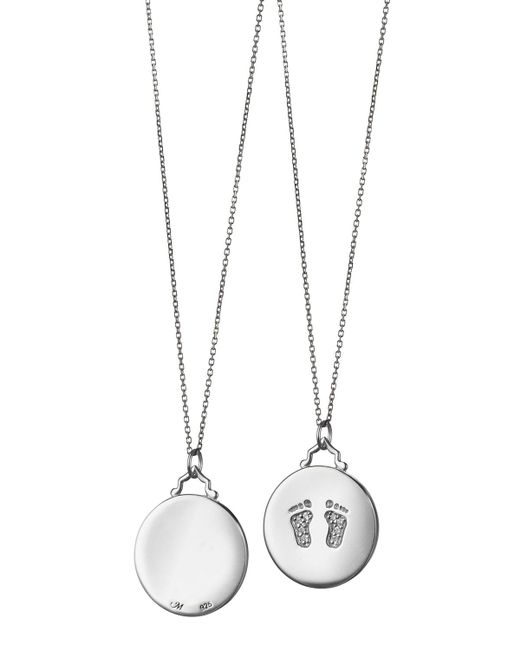 Monica Rich Kosann - Metallic Baby Feet Pave White Sapphire Charm Necklace - Lyst