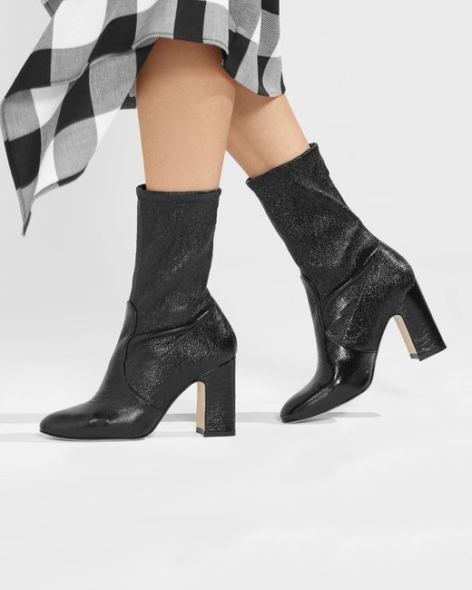 1785025ea6e Lyst - Stuart Weitzman Niki Stretch-leather Booties in Black - Save 40%
