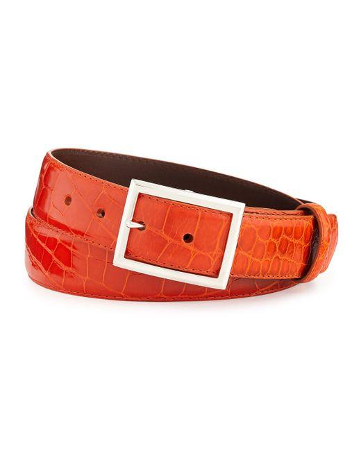 """W. Kleinberg - Orange Glazed Alligator Belt With """"simple Rec"""" Buckle for Men - Lyst"""