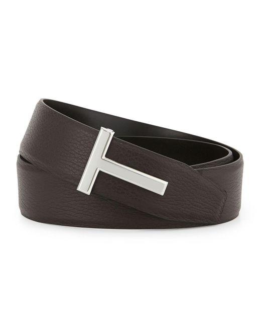 Tom Ford - Brown Reversible Leather Logo Belt - Lyst