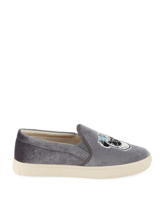 Soludos Flower Pug Velvet Sneaker Grey Women/'s
