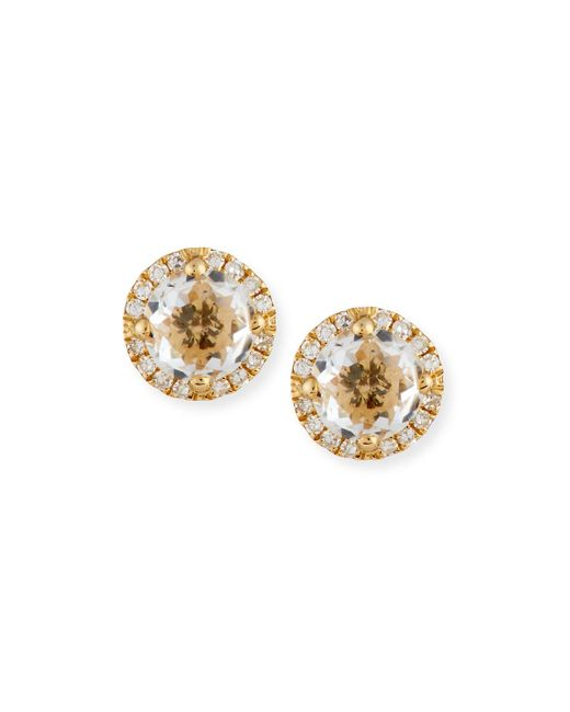 EF Collection - Metallic White Topaz & Diamond Halo Stud Earrings - Lyst