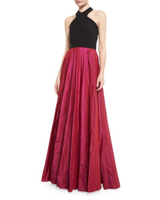 Carmen Marc Valvo | Multicolor Sleeveless Beaded Jersey & Taffeta Ball Gown | Lyst