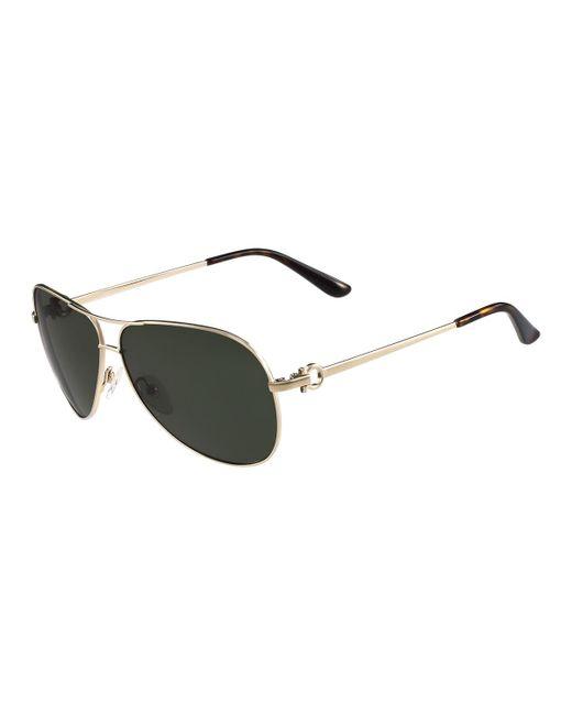 Ferragamo | Multicolor Metal Aviator Sunglasses With Gancini Temple for Men | Lyst