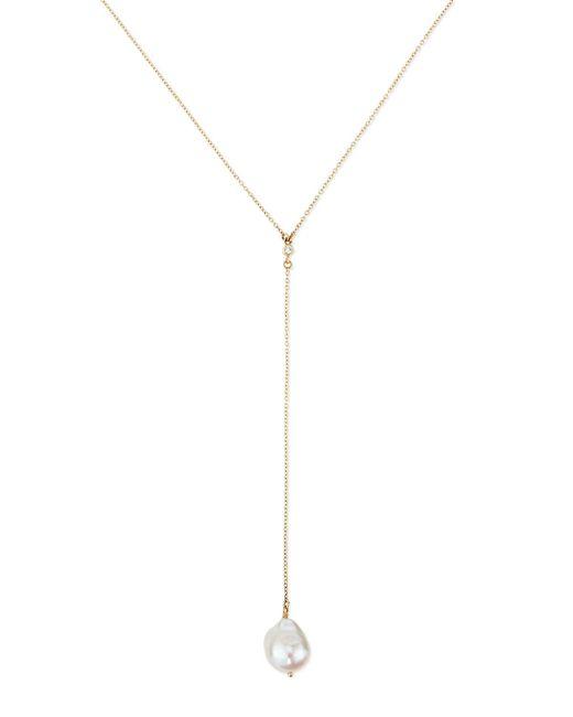 Mizuki | White 14k Gold Y Drop Necklace With Diamond & Pearl | Lyst