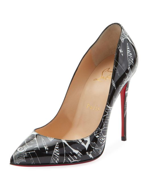 Christian Louboutin - Black Pigalle Follies 100mm Patent Nicograf Red Sole Pumps - Lyst