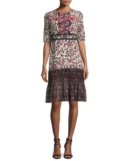Saloni   Multicolor Vera-c Round-neck Half-sleeve Midi Dress   Lyst