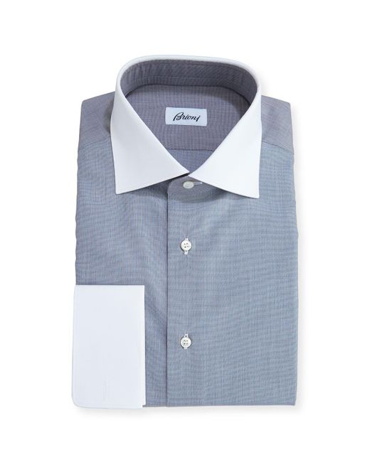 Brioni - Gray End-on-end Dress Shirt With Contrast Collar & Cuffs for Men - Lyst