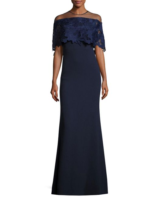 Lela Rose | Blue Guipure Lace-capelet Illusion Gown | Lyst