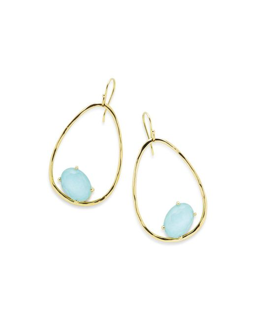 Ippolita - Blue 18k Rock Candy Tipped Oval Wire Earrings In Clear Quartz And Turquoise - Lyst