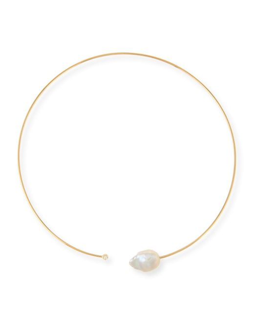 Mizuki | Metallic 14k Small Pearl & Diamond Collar Necklace | Lyst