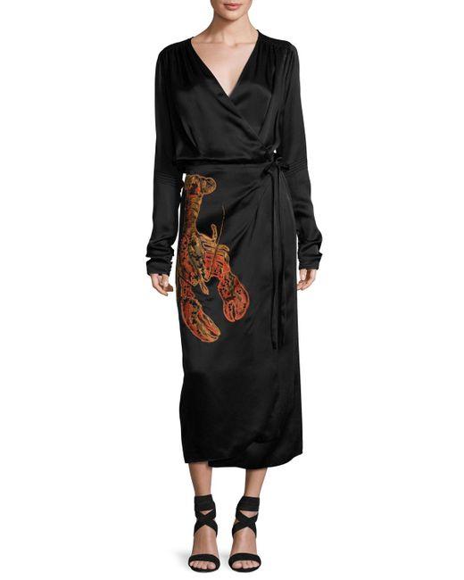 Attico - Black Lobster-beaded Satin Midi Wrap Dress - Lyst