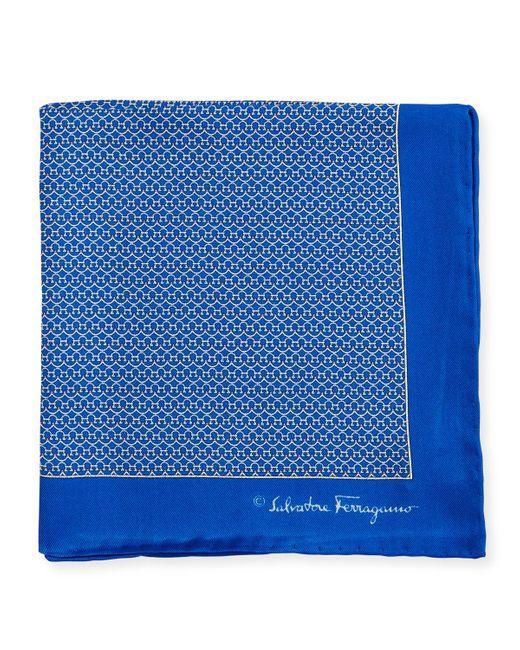 Ferragamo - Blue Party Gancini-print Pocket Square for Men - Lyst