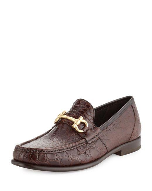 Ferragamo - Brown Mason 2 Crocodile Gancini Loafer for Men - Lyst
