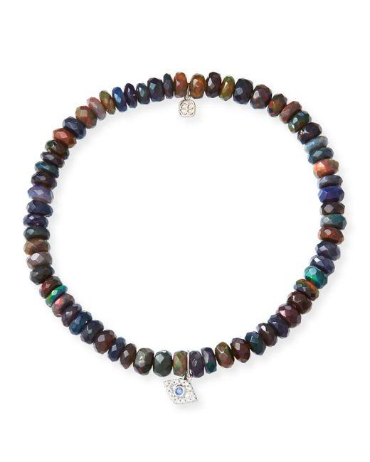 Sydney Evan - Blue 14k Ethiopian Opal Beaded Stretch Bracelet W/ Evil Eye - Lyst
