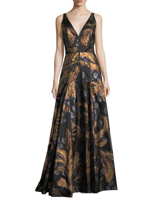 J. Mendel | Black Sleeveless V-neck Brocade Gown | Lyst