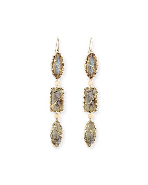 Lana Jewelry | Metallic 14k Lumos Triple-drop Moonstone/onyx Earrings | Lyst