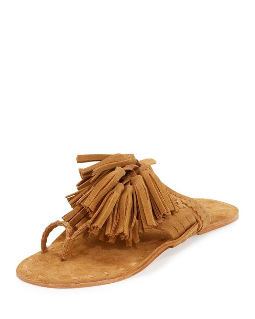 Figue | Brown Scaramouche Suede Tassel Thong Sandals | Lyst