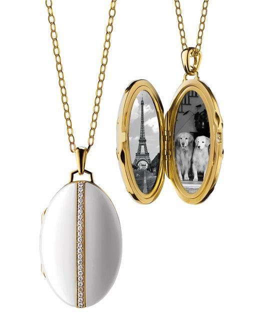 Monica Rich Kosann - Metallic Oval White Ceramic Locket - Lyst