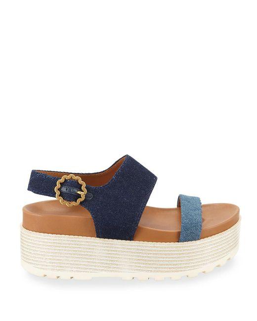 7721cba2b0a ... See By Chloé - Blue Jenna Denim Flatform Sandals - Lyst ...