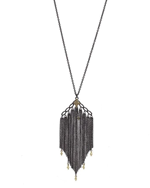 Armenta - Metallic Old World Chain Tassel Necklace With Champagne Diamonds - Lyst
