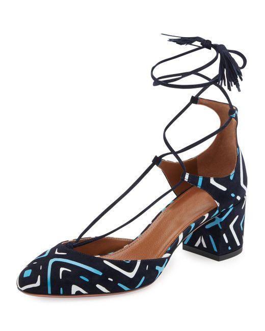 Aquazzura - Blue Boheme Printed Suede Block-heel Pump - Lyst