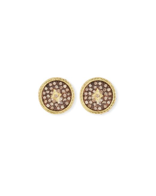 Armenta - Metallic Old World Diamond Pave Stud Earrings - Lyst