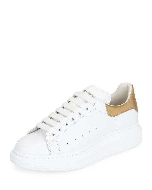 Alexander McQueen - White Men's Leather Low-top Sneakers W/golden Heel for Men - Lyst